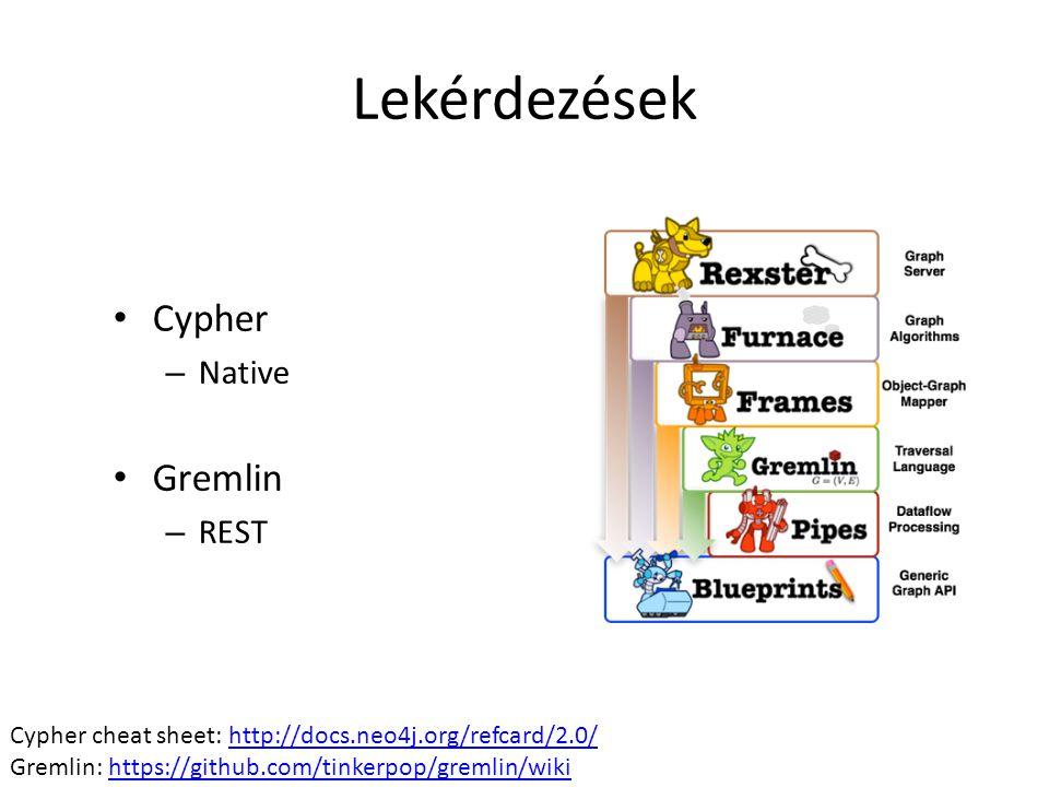 Lekérdezések Cypher Gremlin Native REST