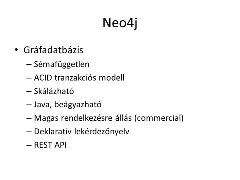 Neo4j Gráfadatbázis Sémafüggetlen ACID tranzakciós modell Skálázható