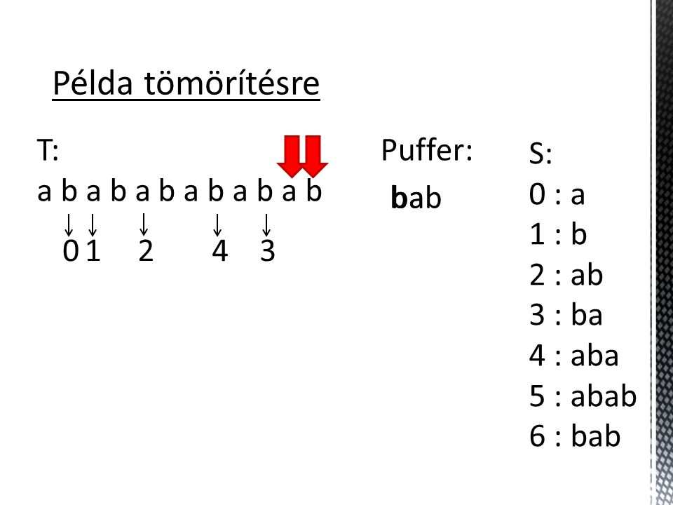 Példa tömörítésre T: a b a b a b a b a b a b Puffer: S: 0 : a 1 : b