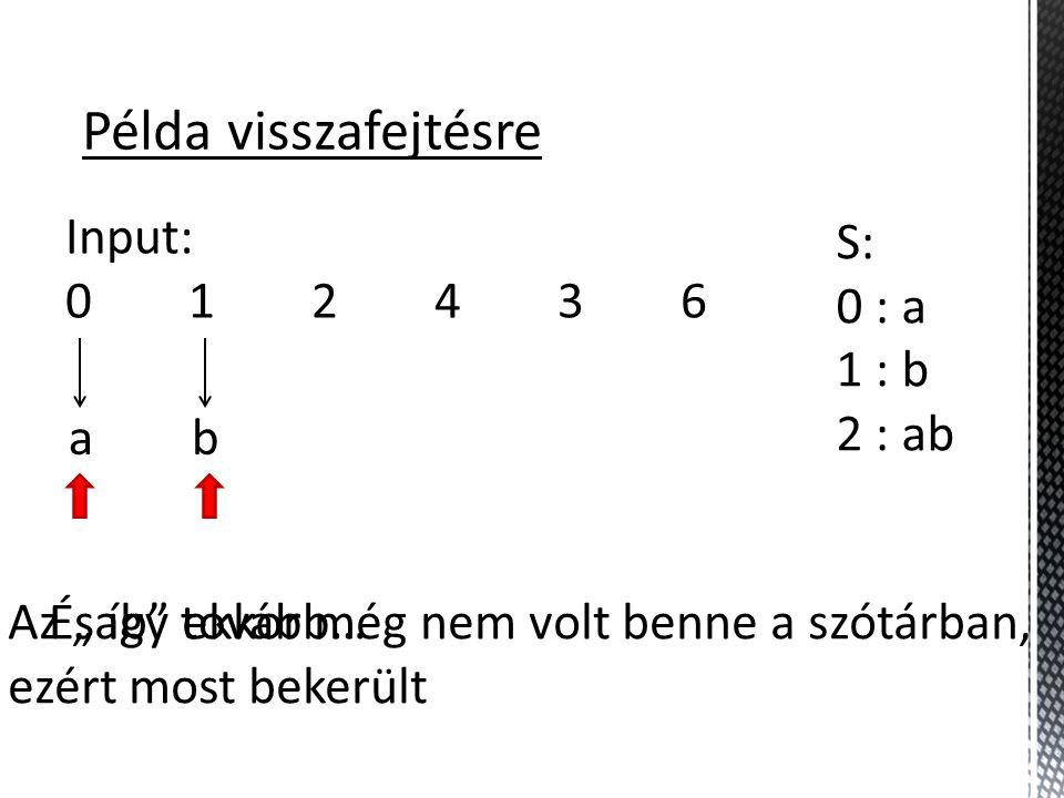 Példa visszafejtésre Input: 0 1 2 4 3 6 S: 0 : a 1 : b 2 : ab a b