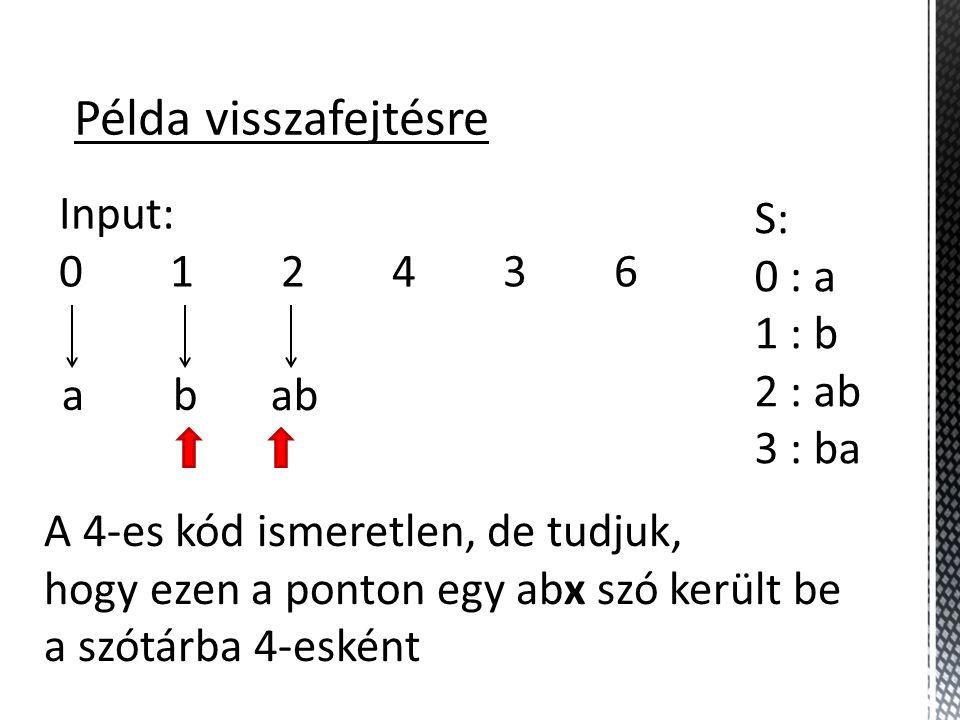 Példa visszafejtésre Input: 0 1 2 4 3 6 S: 0 : a 1 : b 2 : ab 3 : ba a