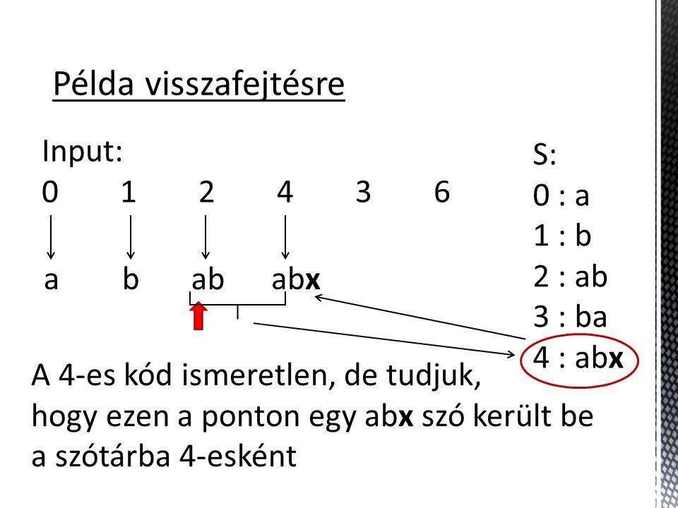 Példa visszafejtésre Input: 0 1 2 4 3 6 S: 0 : a 1 : b 2 : ab 3 : ba