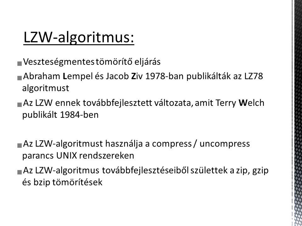 LZW-algoritmus: Veszteségmentes tömörítő eljárás