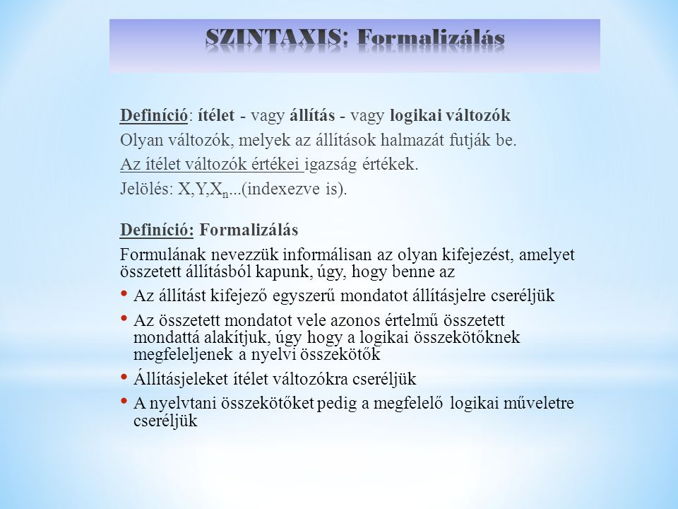 SZINTAXIS: Formalizálás
