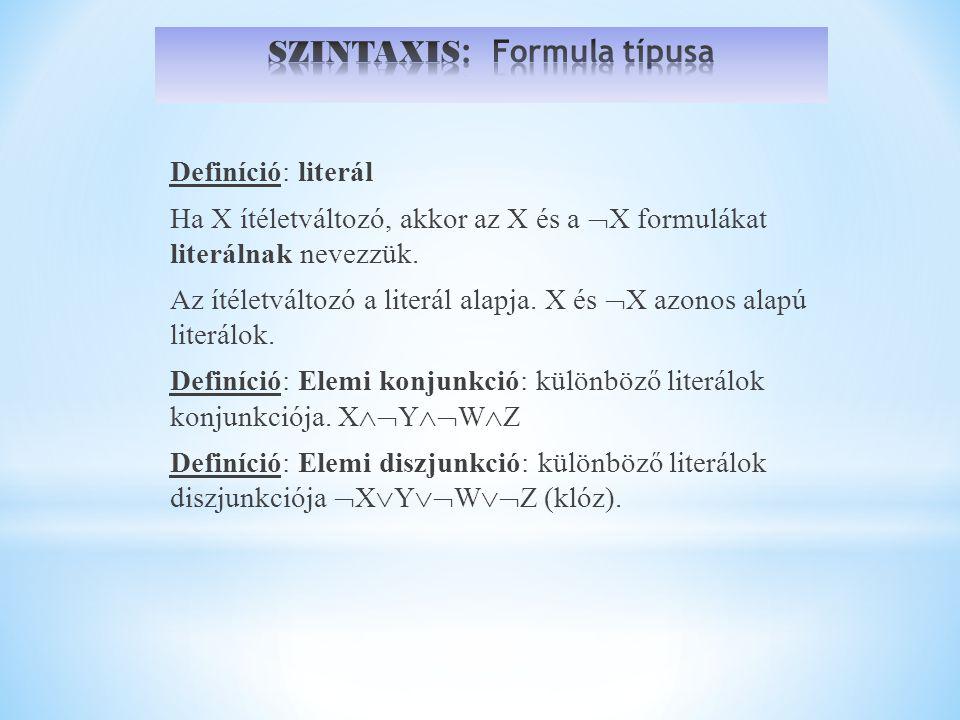 SZINTAXIS: Formula típusa