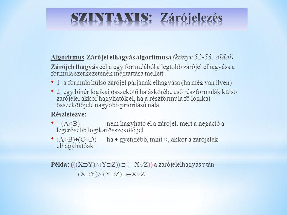 SZINTAXIS: Zárójelezés