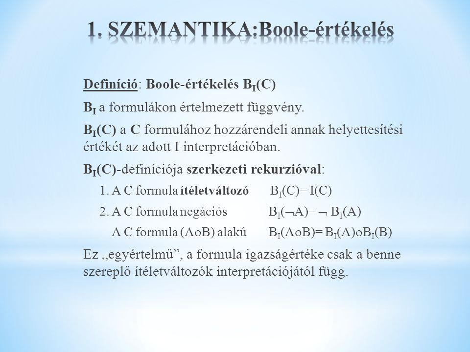 1. SZEMANTIKA:Boole-értékelés