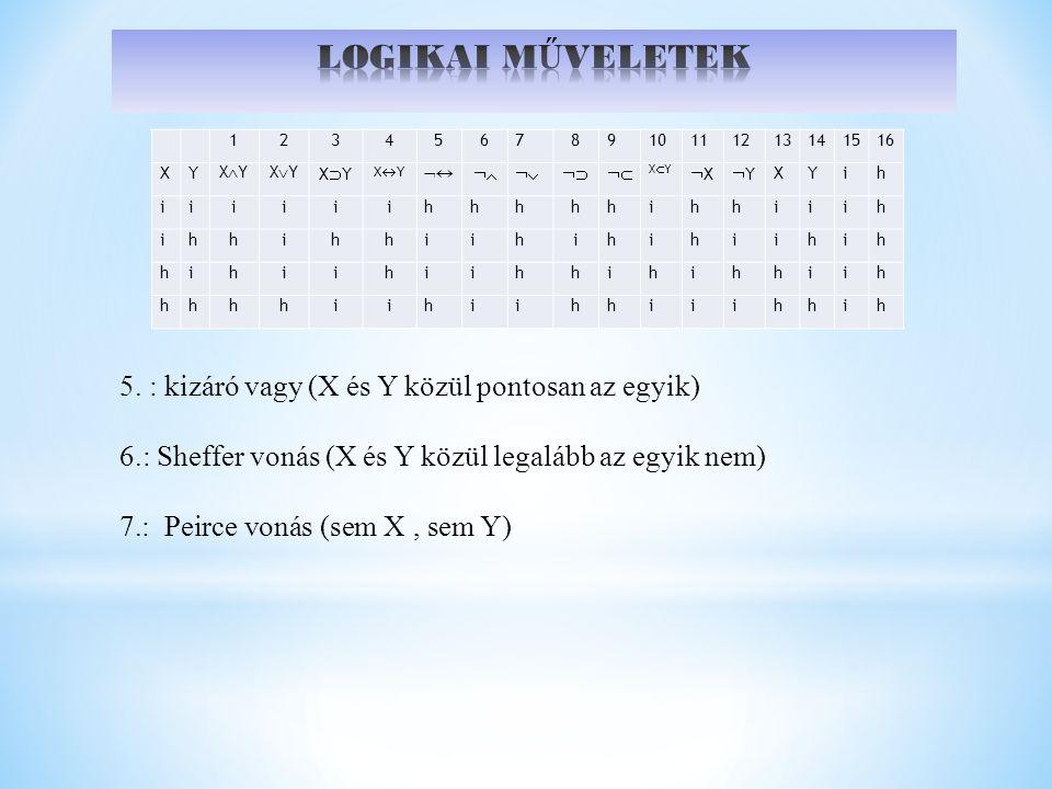 LOGIKAI MŰVELETEK 5. : kizáró vagy (X és Y közül pontosan az egyik)