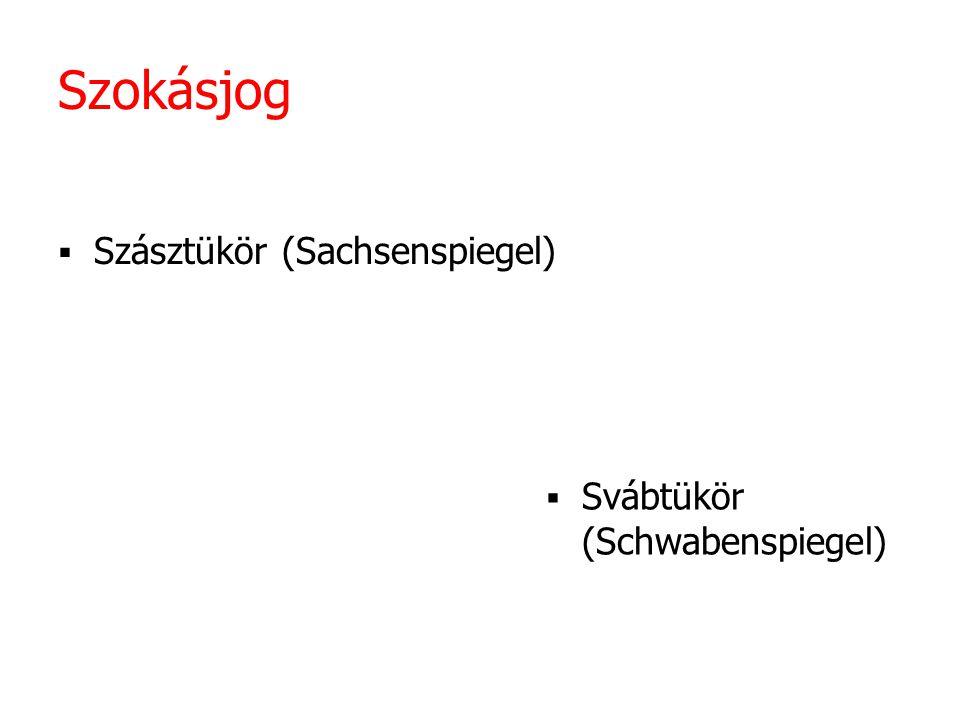 Szokásjog Szásztükör (Sachsenspiegel) Svábtükör (Schwabenspiegel)