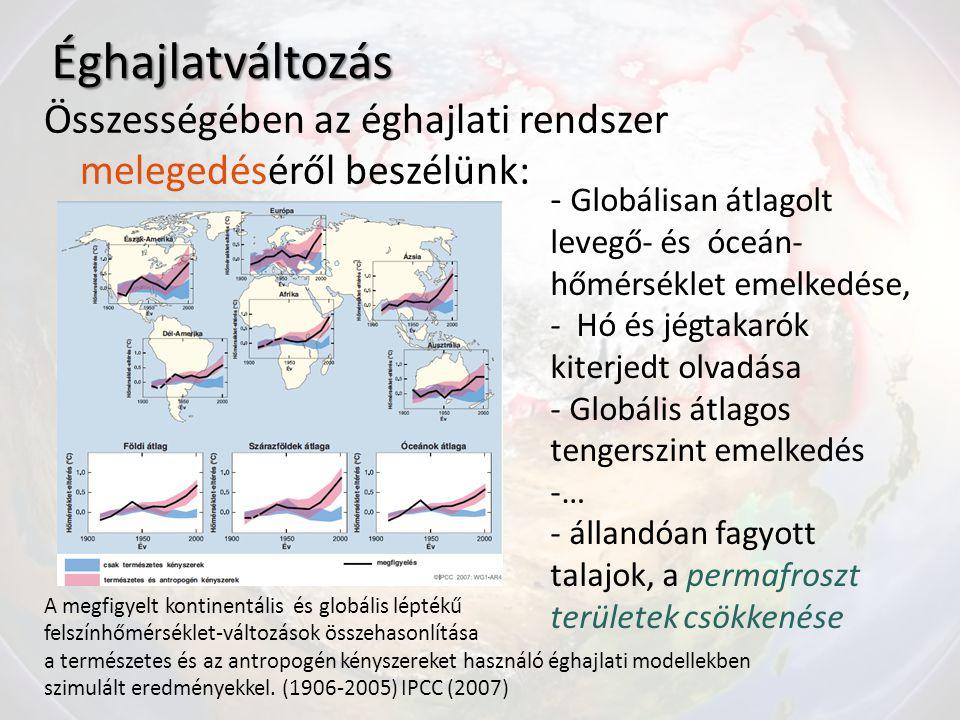 Éghajlatváltozás Összességében az éghajlati rendszer melegedéséről beszélünk: - Globálisan átlagolt levegő- és óceán- hőmérséklet emelkedése,