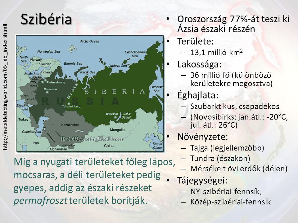 Szibéria Oroszország 77%-át teszi ki Ázsia északi részén. Területe: 13,1 millió km2. Lakossága: 36 millió fő (különböző kerületekre megosztva)