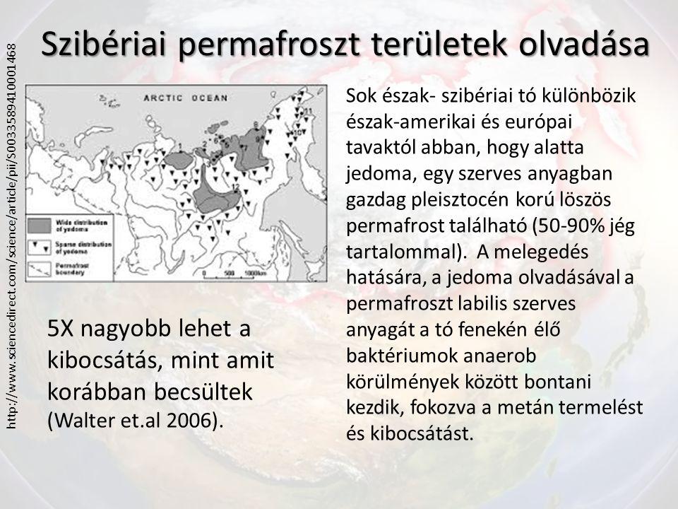 Szibériai permafroszt területek olvadása