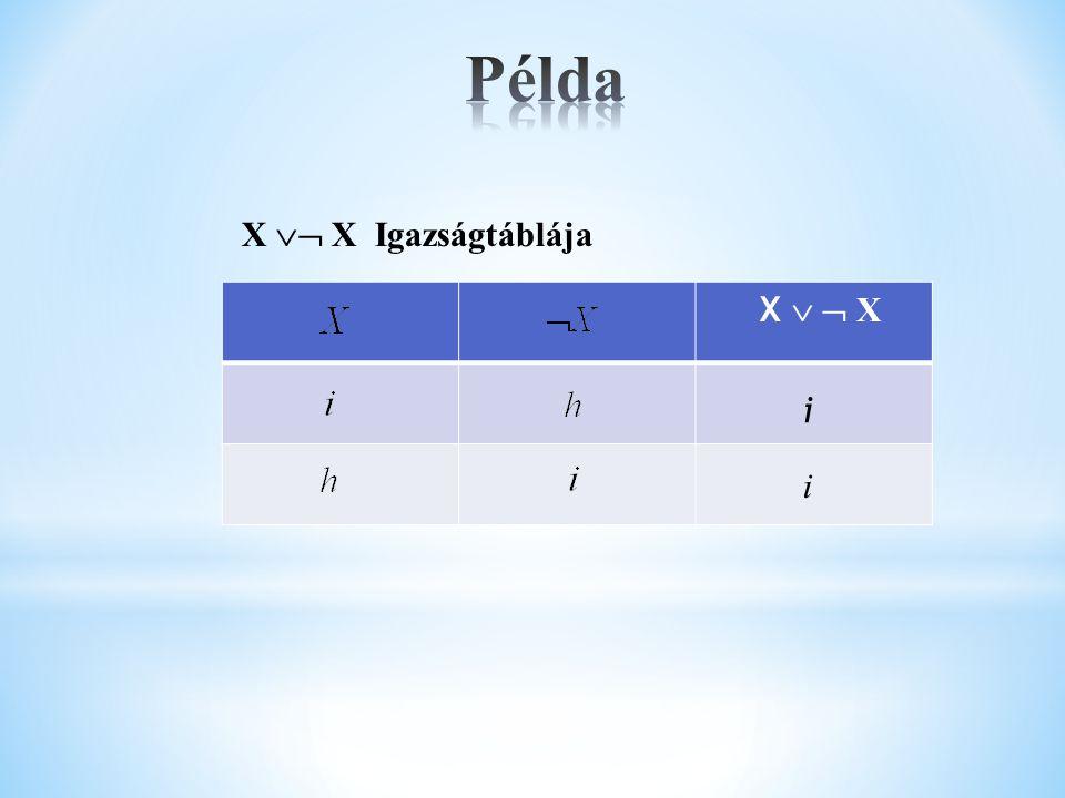 Példa X  X Igazságtáblája X   X i i