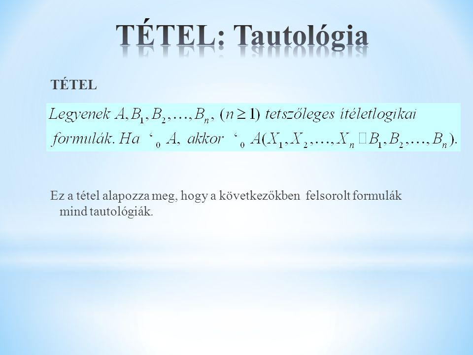 TÉTEL: Tautológia TÉTEL