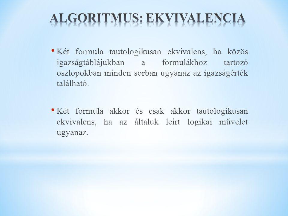 ALGORITMUS: EKVIVALENCIA