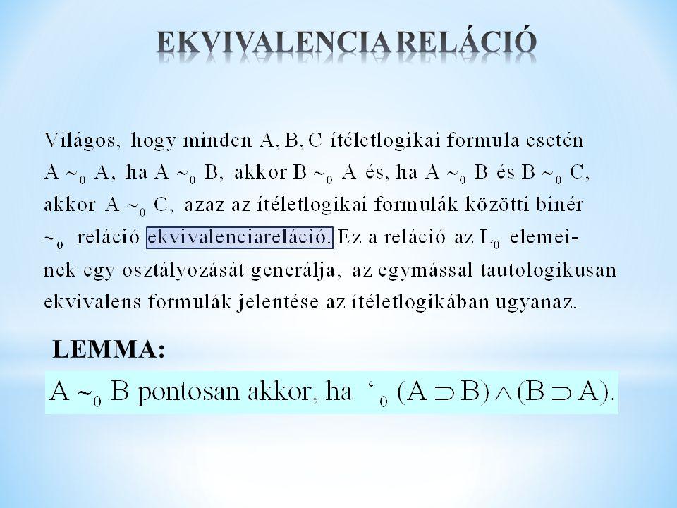 EKVIVALENCIA RELÁCIÓ LEMMA: