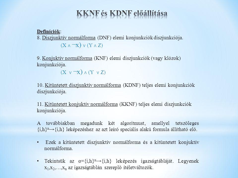 KKNF és KDNF előállítása