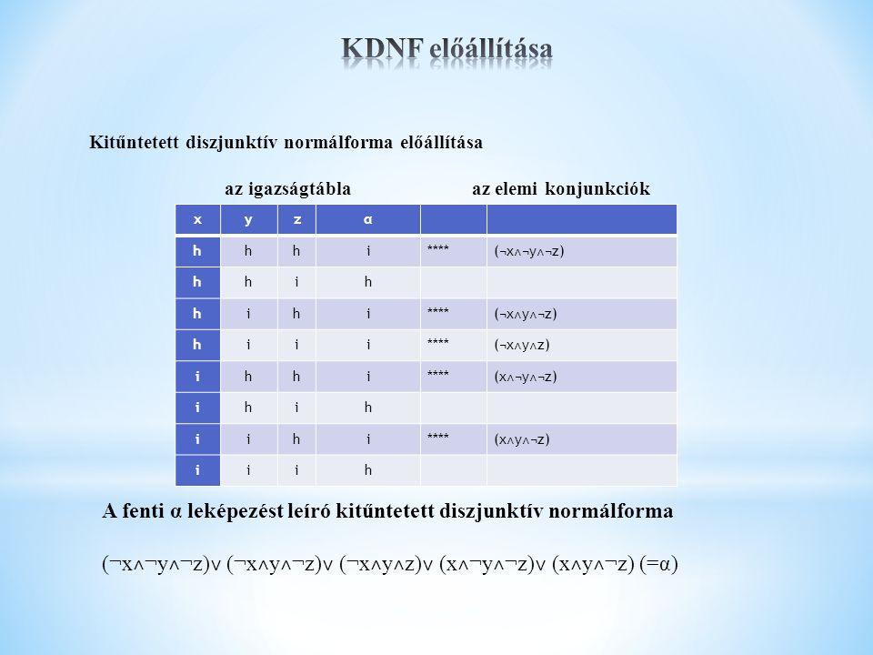 KDNF előállítása Kitűntetett diszjunktív normálforma előállítása. az igazságtábla az elemi konjunkciók.
