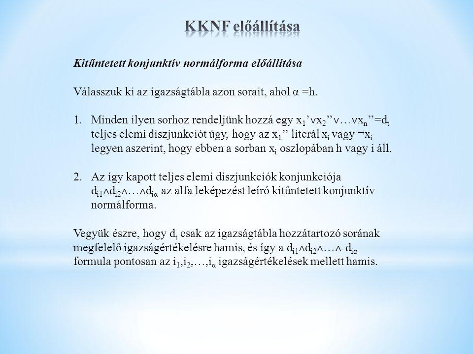 KKNF előállítása Kitűntetett konjunktív normálforma előállítása