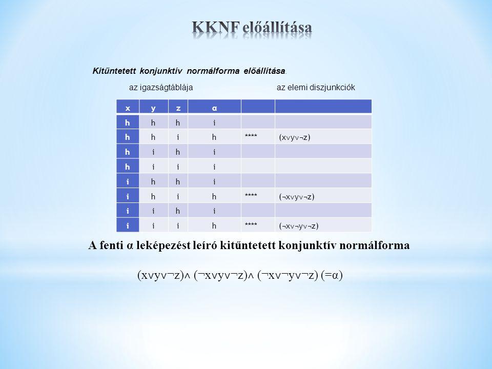KKNF előállítása Kitűntetett konjunktív normálforma előállítása. az igazságtáblája az elemi diszjunkciók.