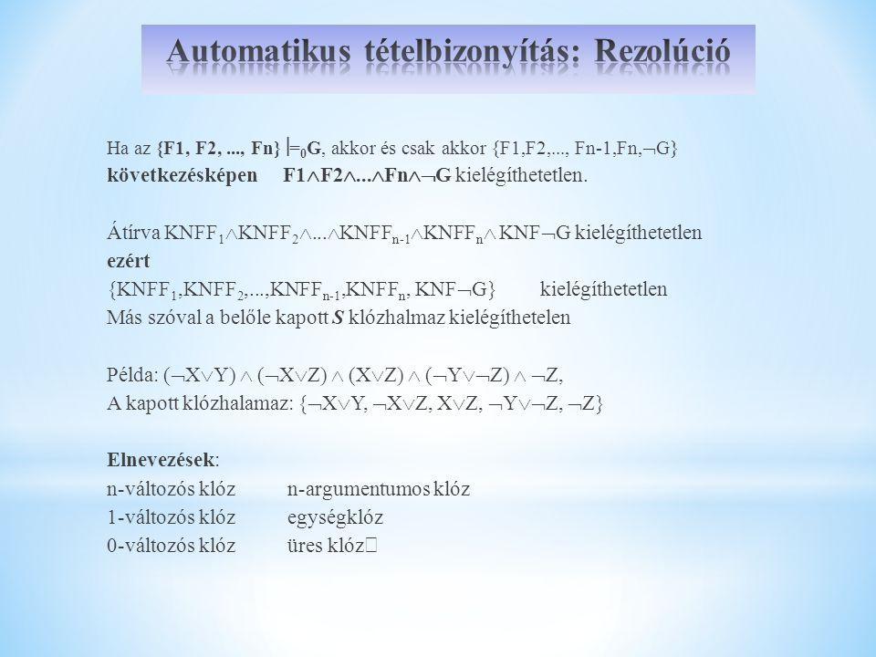 Automatikus tételbizonyítás: Rezolúció