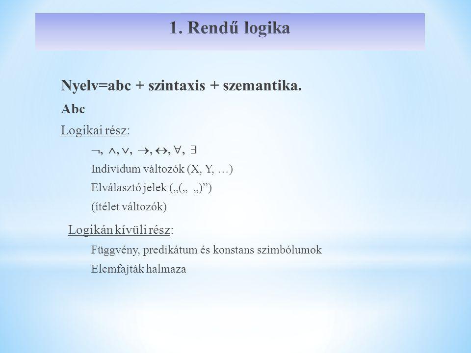 1. Rendű logika Nyelv=abc + szintaxis + szemantika.