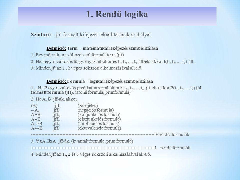 1. Rendű logika Szintaxis - jól formált kifejezés előállításának szabályai. Definíció: Term - matematikai leképezés szimbolizálása.