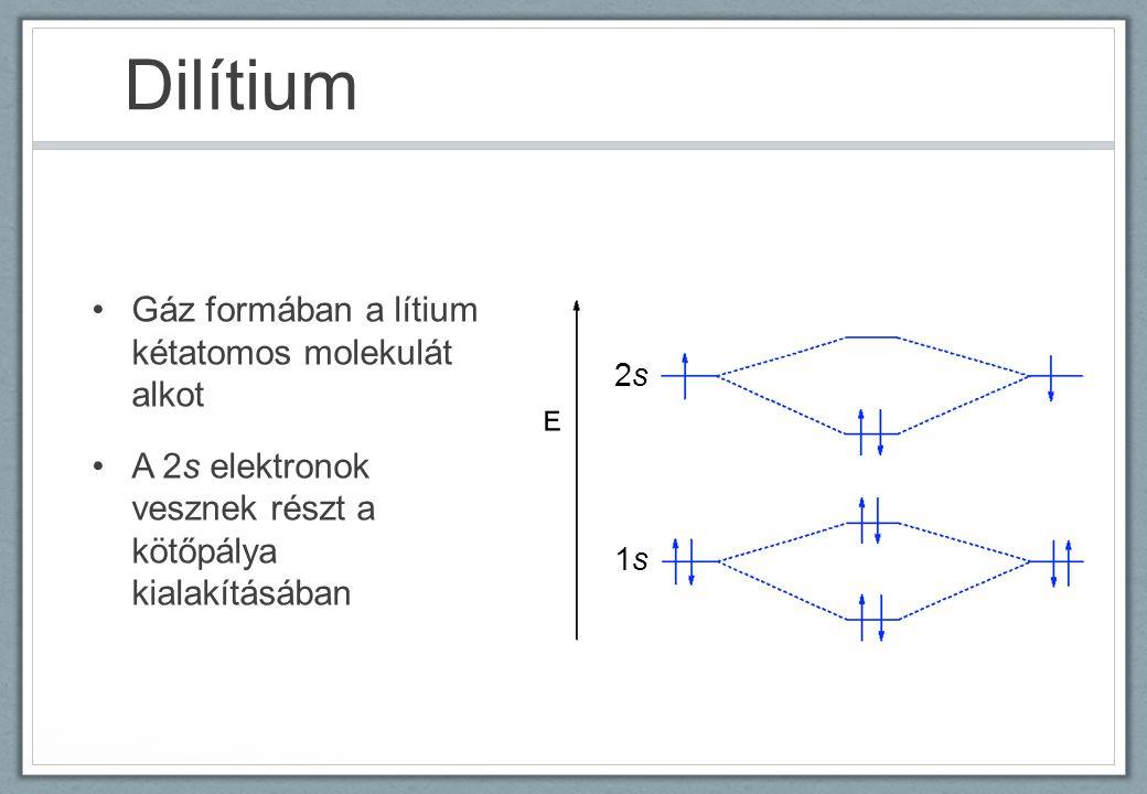 Dilítium Gáz formában a lítium kétatomos molekulát alkot