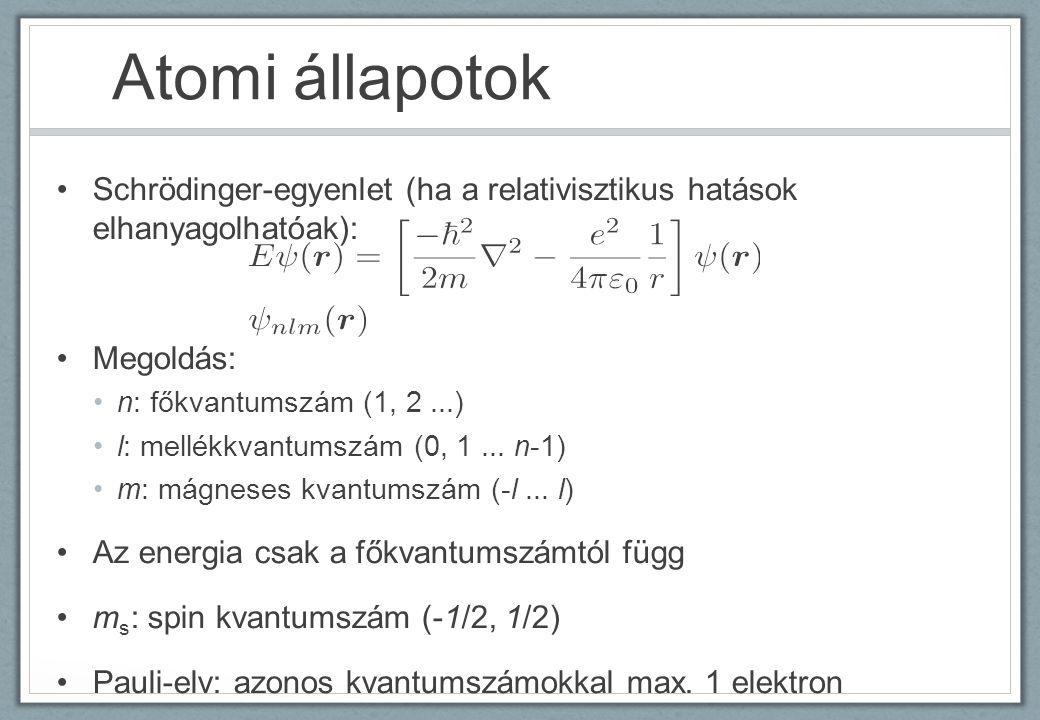 Atomi állapotok Schrödinger-egyenlet (ha a relativisztikus hatások elhanyagolhatóak): Megoldás: n: főkvantumszám (1, 2 ...)