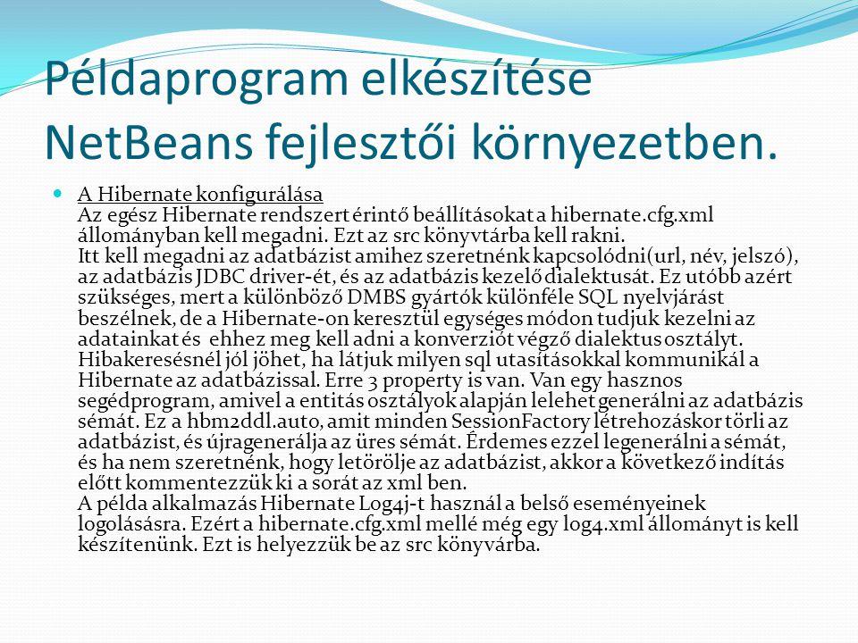 Példaprogram elkészítése NetBeans fejlesztői környezetben.