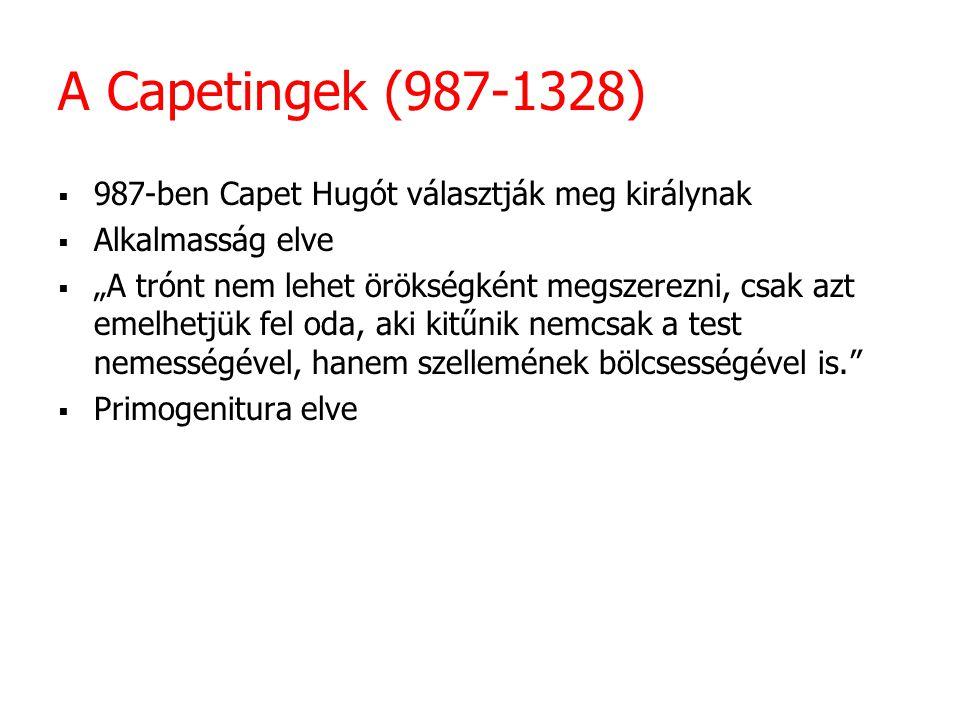 A Capetingek (987-1328) 987-ben Capet Hugót választják meg királynak