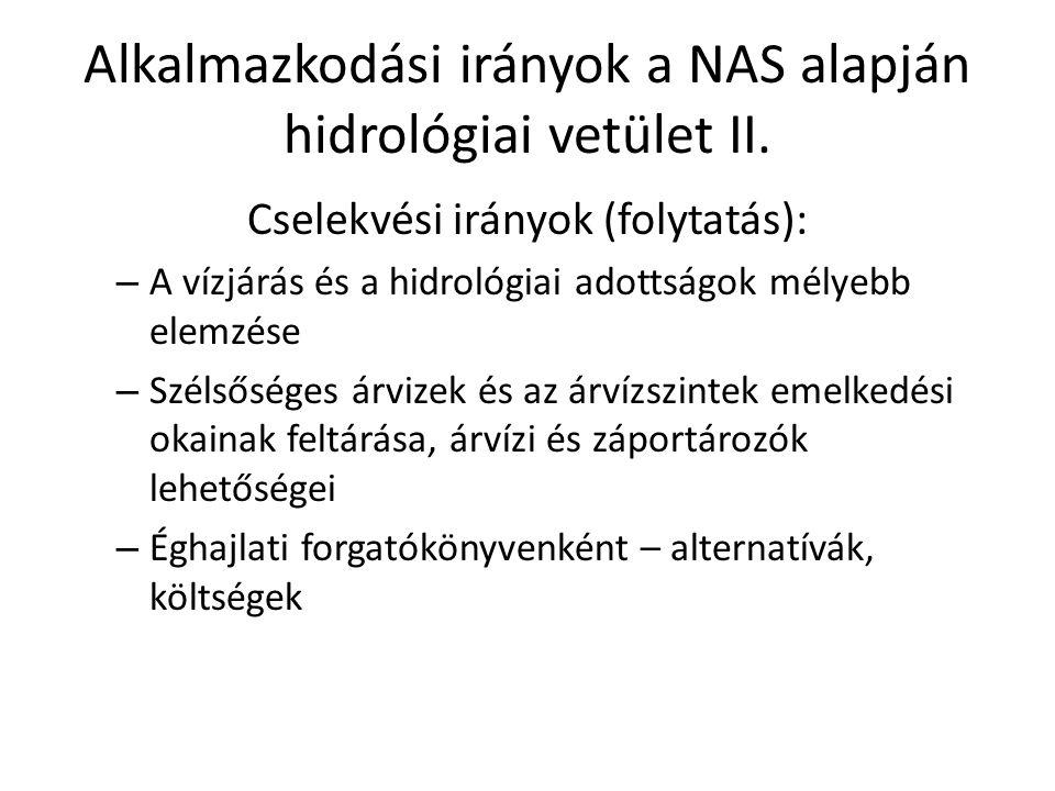 Alkalmazkodási irányok a NAS alapján hidrológiai vetület II.