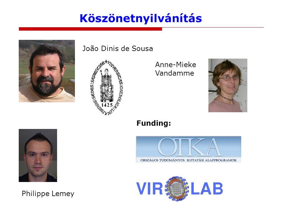 Köszönetnyilvánítás João Dinis de Sousa Anne-Mieke Vandamme Funding: