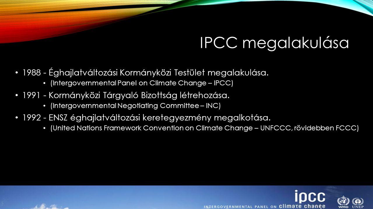 IPCC megalakulása 1988 - Éghajlatváltozási Kormányközi Testület megalakulása. (Intergovernmental Panel on Climate Change – IPCC)