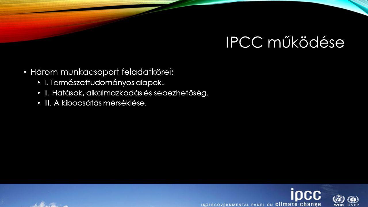 IPCC működése Három munkacsoport feladatkörei: