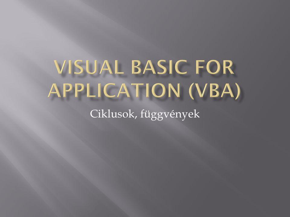 Visual Basic for Application (VBA)