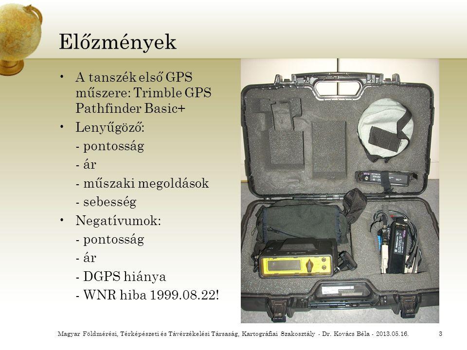 Előzmények A tanszék első GPS műszere: Trimble GPS Pathfinder Basic+