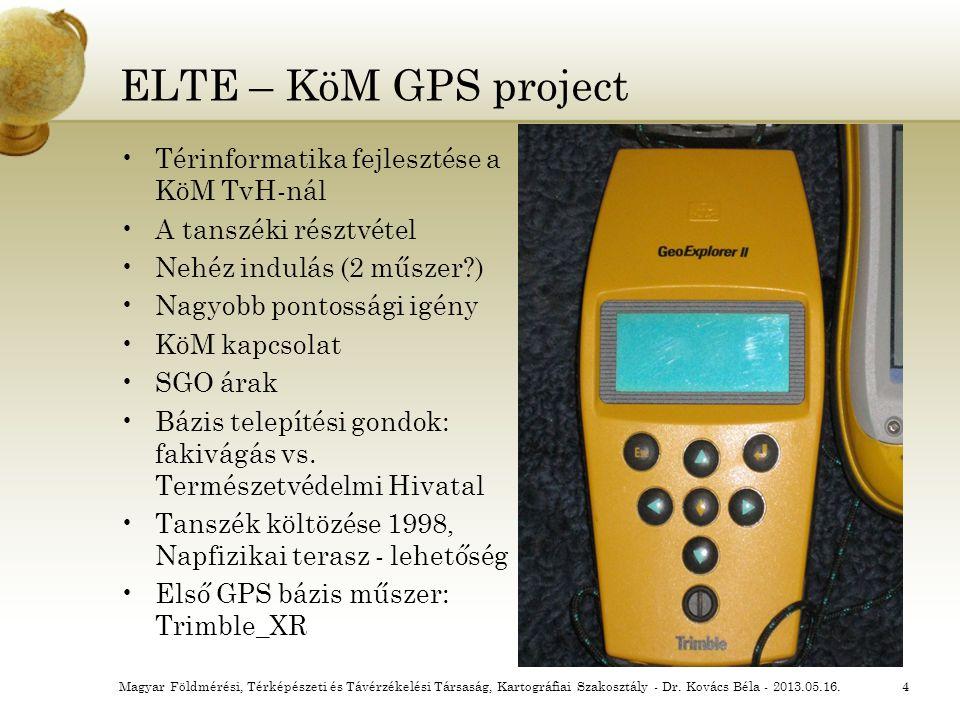 ELTE – KöM GPS project Térinformatika fejlesztése a KöM TvH-nál