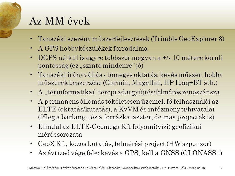 Az MM évek Tanszéki szerény műszerfejlesztések (Trimble GeoExplorer 3)