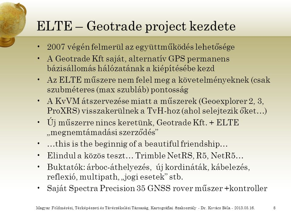 ELTE – Geotrade project kezdete