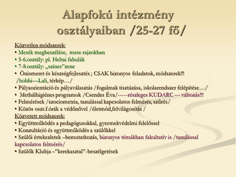 Alapfokú intézmény osztályaiban /25-27 fő/
