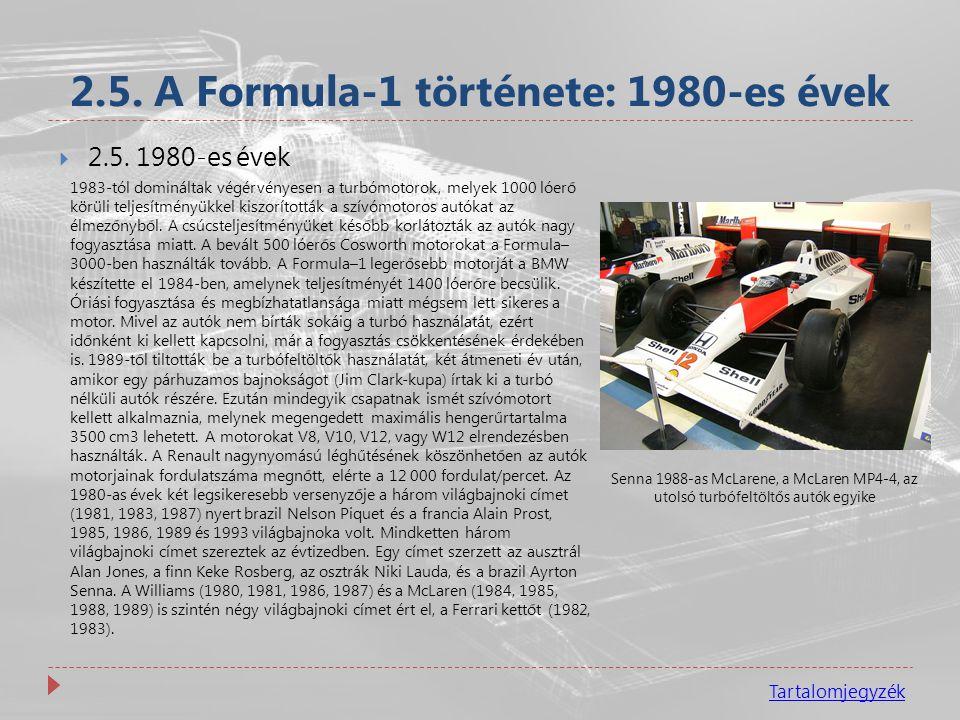 2.5. A Formula-1 története: 1980-es évek