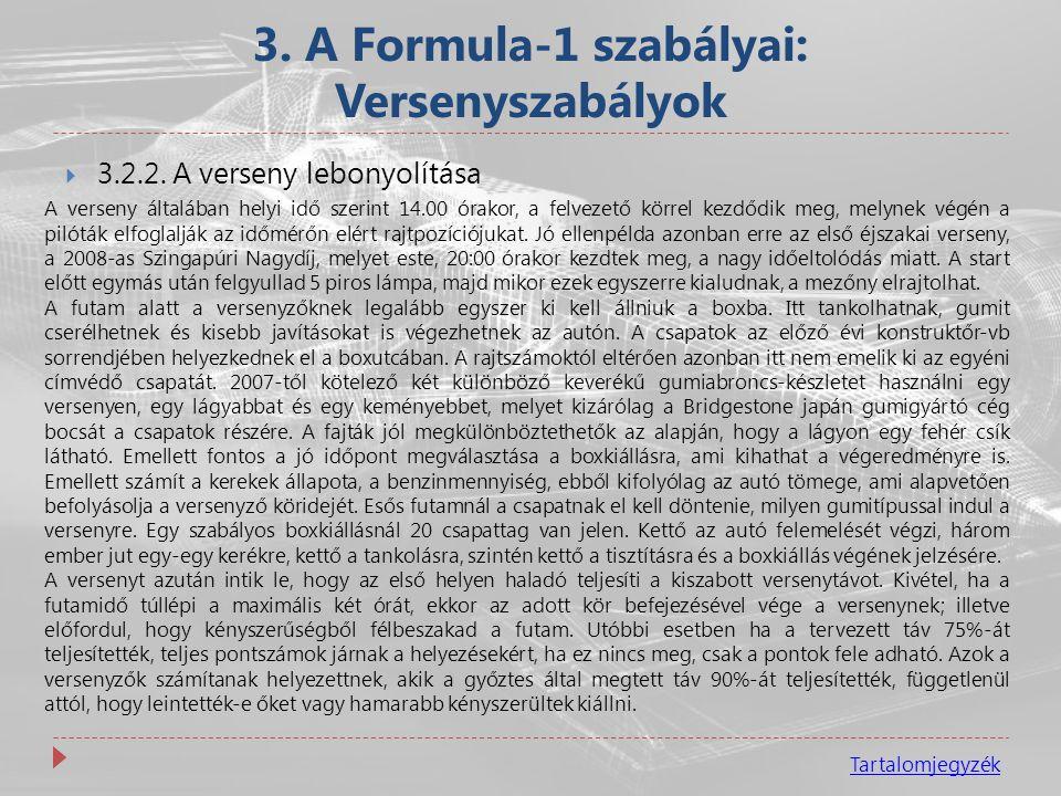 3. A Formula-1 szabályai: Versenyszabályok