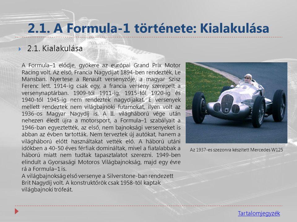2.1. A Formula-1 története: Kialakulása