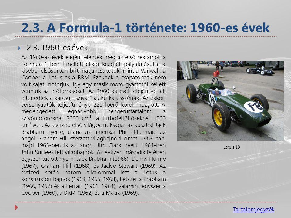 2.3. A Formula-1 története: 1960-es évek
