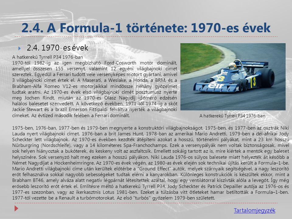 2.4. A Formula-1 története: 1970-es évek