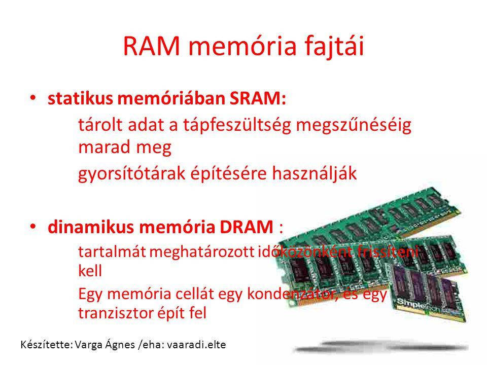 RAM memória fajtái statikus memóriában SRAM: