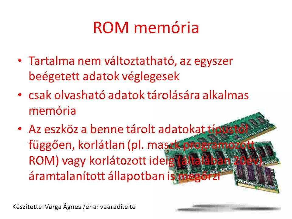 ROM memória Tartalma nem változtatható, az egyszer beégetett adatok véglegesek. csak olvasható adatok tárolására alkalmas memória.