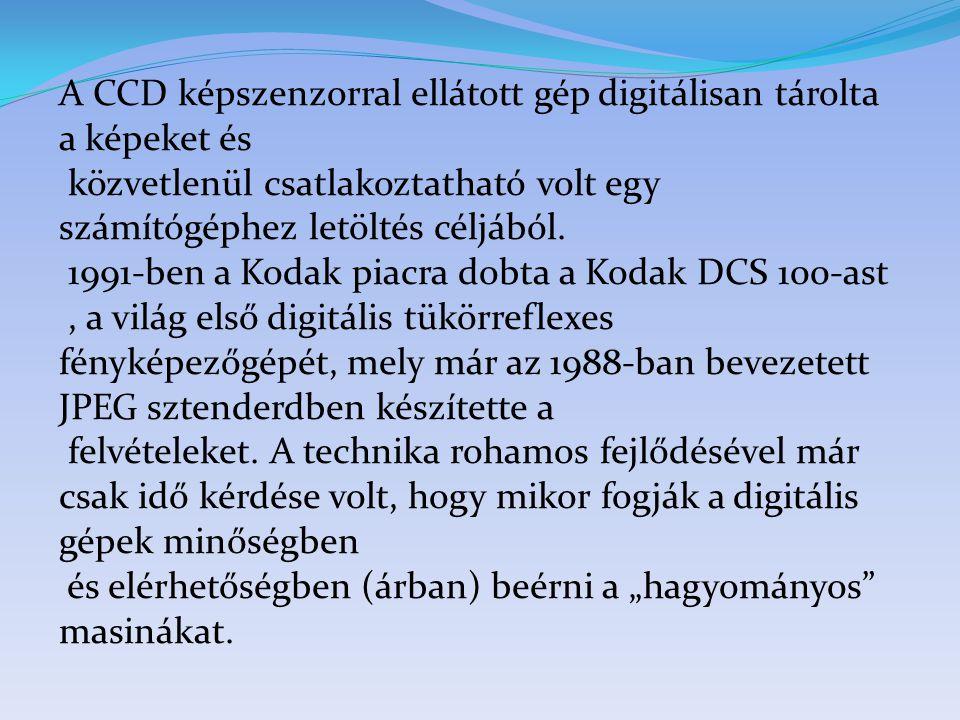 A CCD képszenzorral ellátott gép digitálisan tárolta a képeket és