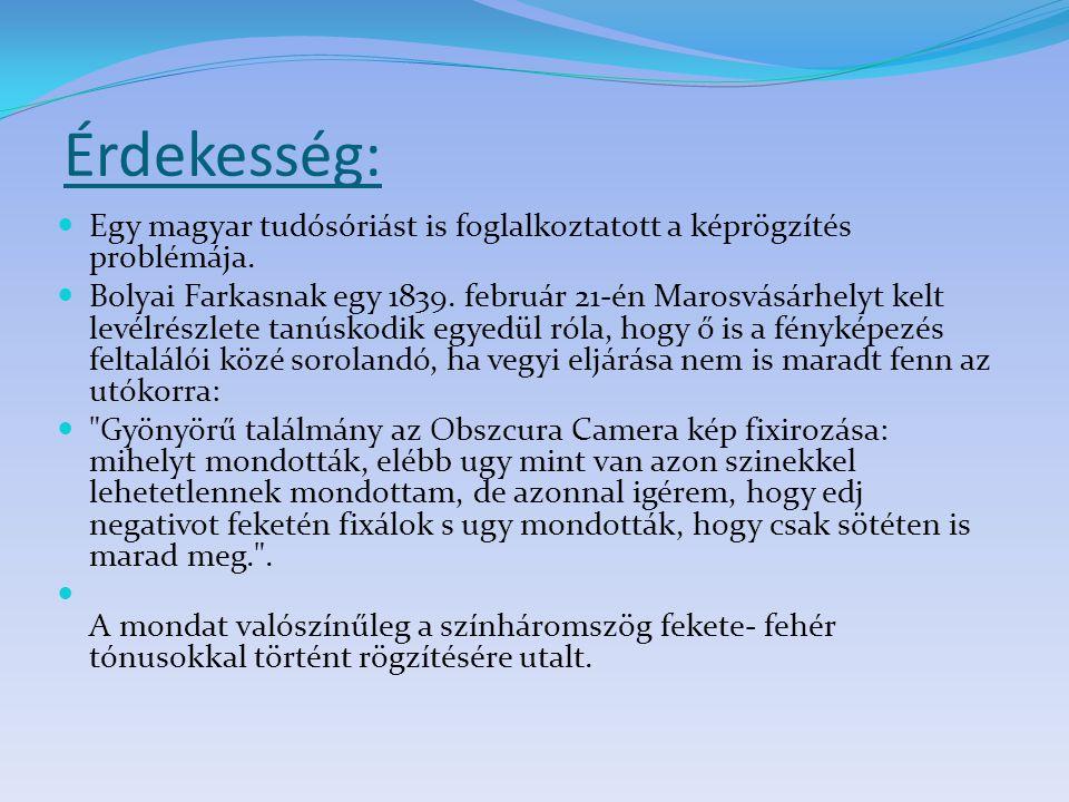 Érdekesség: Egy magyar tudósóriást is foglalkoztatott a képrögzítés problémája.